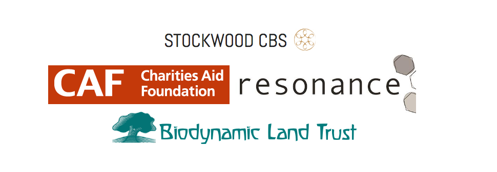logos of Biodynamic Land Trust, Resonance, Charities Aid Foundation, Stockwood CBS