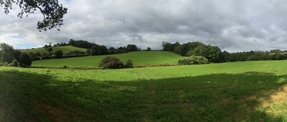 Panorama of the land now known as Huxhams Cross Farm