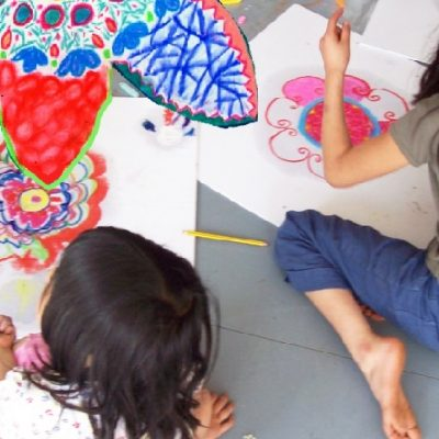 Kids drawing at Apricot centre