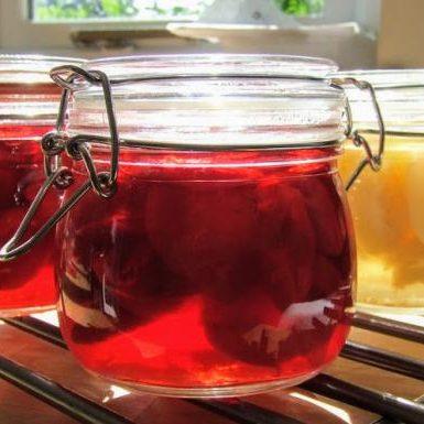 Clear jar with preserve Huxhams Cross Farm