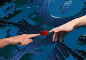 Heart over data to symboloise cyber securitity