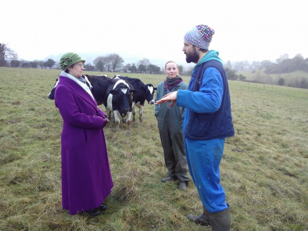 Molly Scott Cato, Laura Dally, herdsperson, and Kees Frederiks, Stroud Micro Dairy owner and dairy farmer