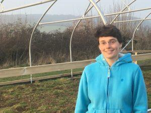 Start of starter farm polytunnel at Oakbrook Farm, Stroud with starter farmer Kit Whitney